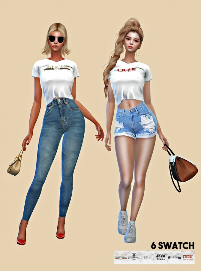 Sims 4 White T shirt F at L.Sim