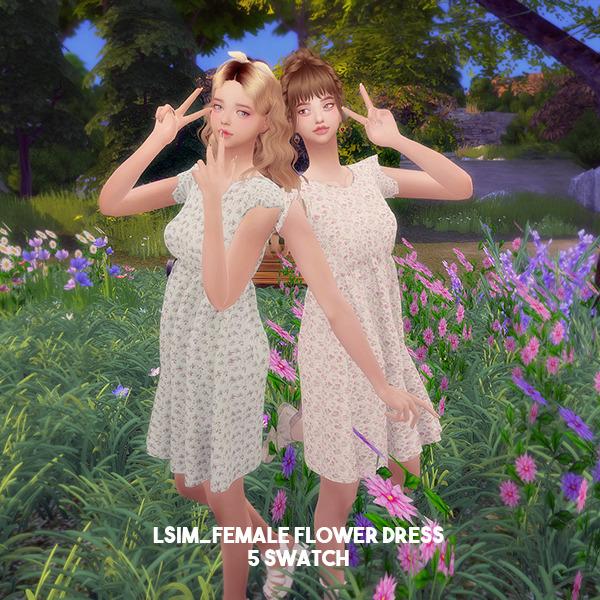 Sims 4 Flower dress at L.Sim