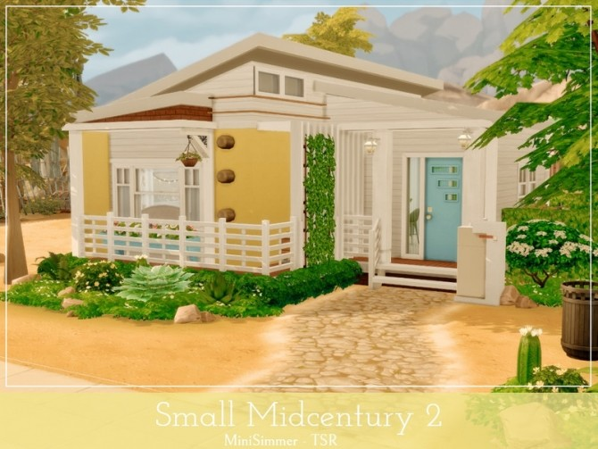 Sims 4 Small Midcentury 2 house by Mini Simmer at TSR