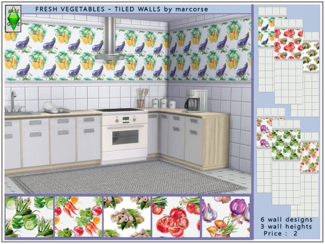 Sims 4 Fresh Vegetables Tiled Walls by marcorse at TSR