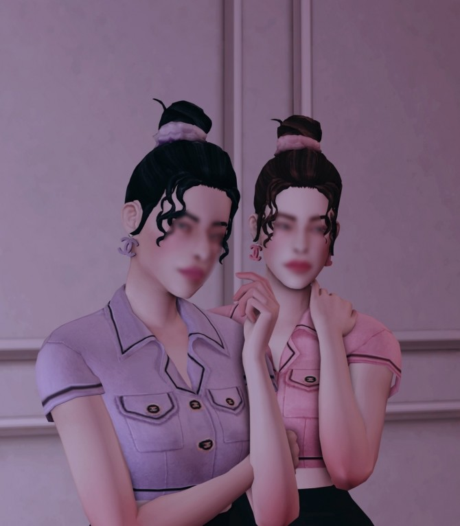 Sims 4 FM MM Set: earrings, outfit, hair & hairband at Bedisfull – iridescent