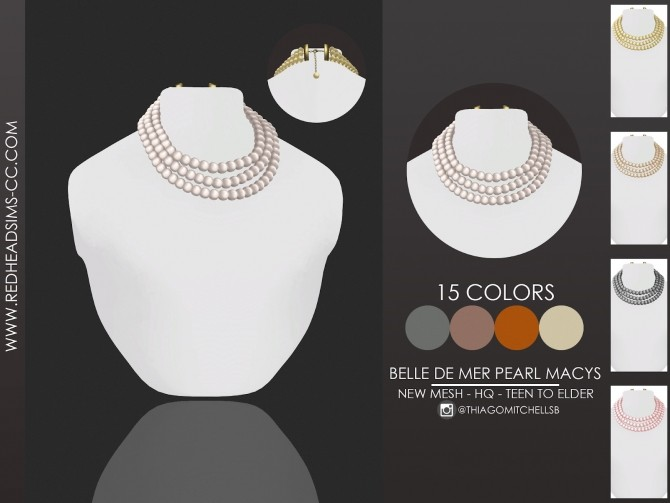 Sims 4 Pearl necklace by Thiago Mitchell at REDHEADSIMS