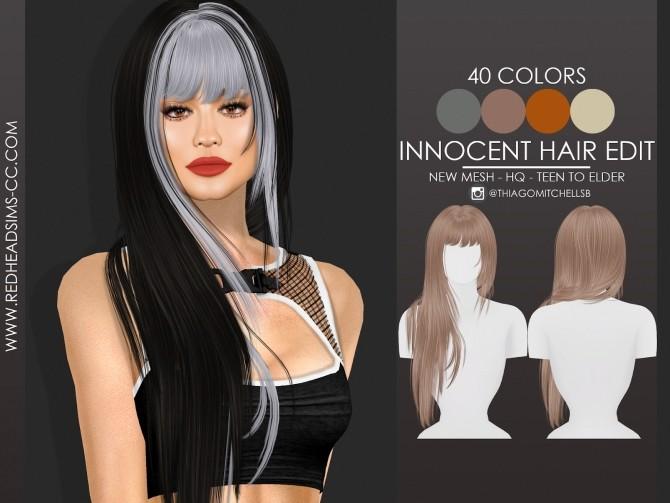 Sims 4 INNOCENT HAIR EDIT by Thiago Mitchell at REDHEADSIMS