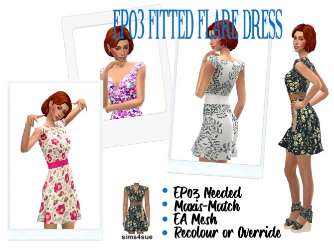 Sims 4 EP03 FITTED FLARE DRESS at Sims4Sue