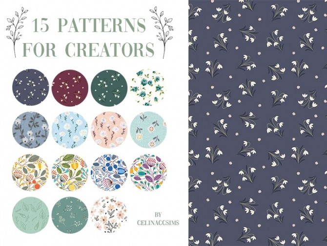 Sims 4 15 PATTERNS SET FOR CREATORS at Celinaccsims