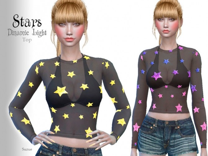 Sims 4 Stars Top by Suzue at TSR