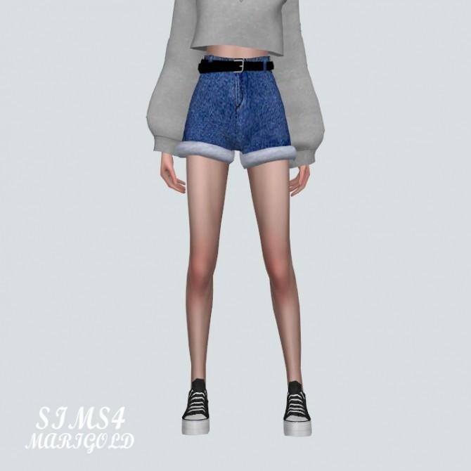 Sims 4 High Waist Belt Hot Pants V3 at Marigold