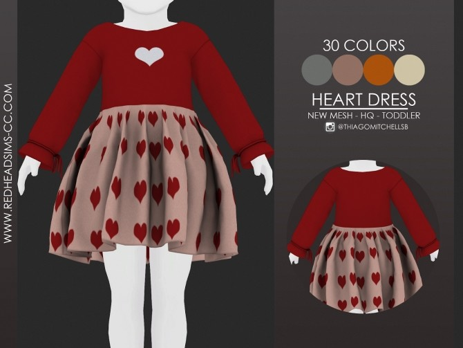 HEART DRESS by Thiago Mitchell at REDHEADSIMS image 2079 670x503 Sims 4 Updates