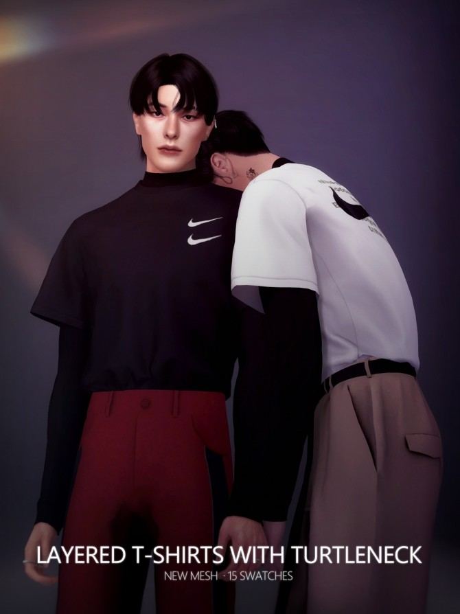 Layered T shirts With Turtleneck at Rona Sims image 21510 670x894 Sims 4 Updates