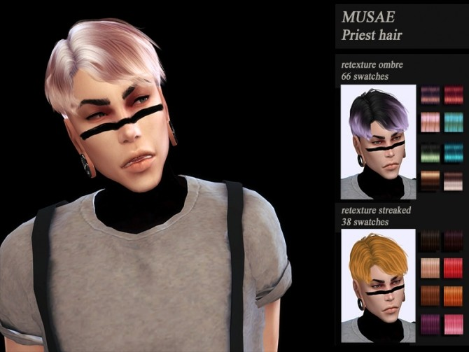 Male hair recolor retexture MUSAE Priest by HoneysSims4 at TSR image 2168 670x503 Sims 4 Updates