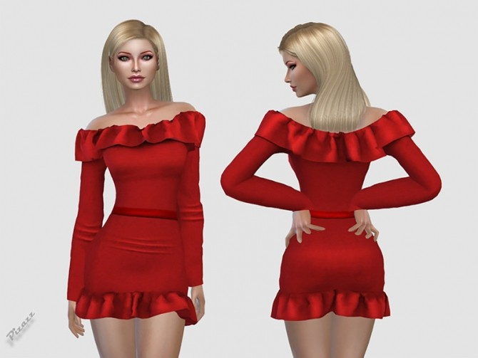 Sims 4 Off Shoulder Dress by pizazz at TSR