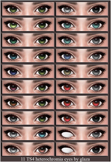 11 heterochromia eyes set 2 at All by Glaza image 2232 Sims 4 Updates