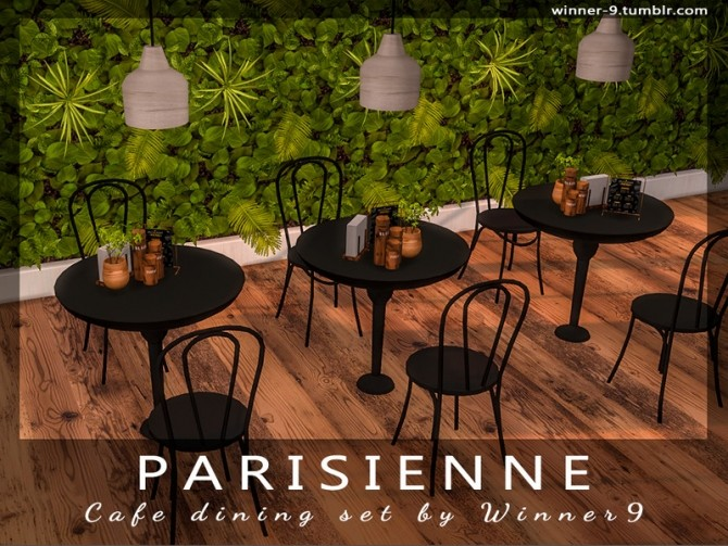 Sims 4 Parisienne Cafe dining set by Winner9 at TSR