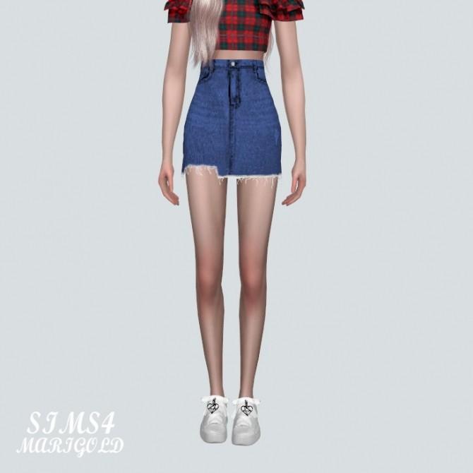 Sims 4 V Denim Skirt at Marigold