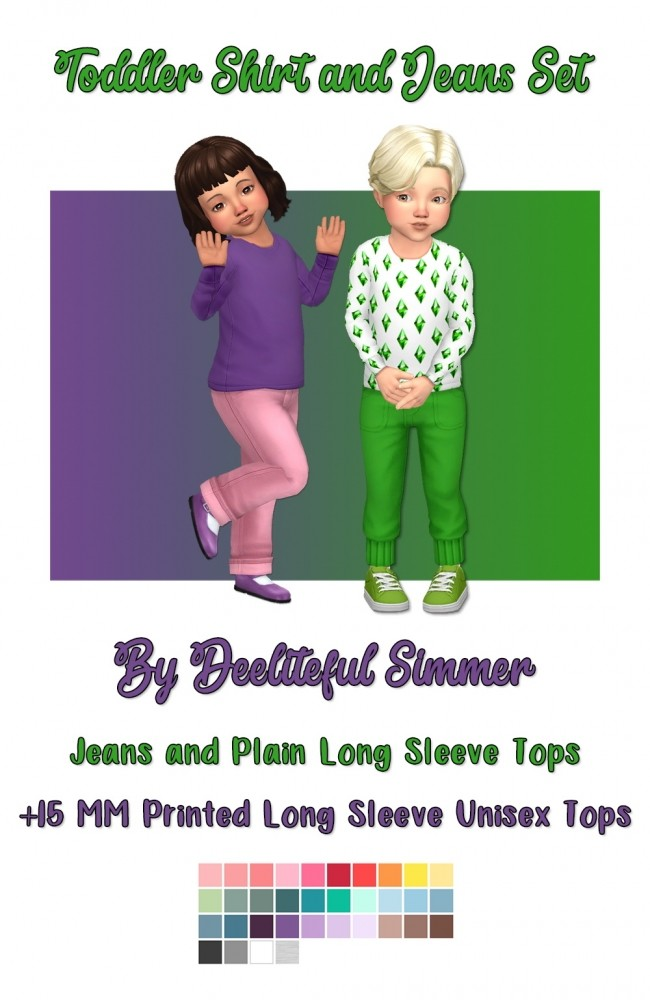 Jeans and long plain sleeve top at Deeliteful Simmer image 2362 650x1000 Sims 4 Updates