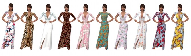 Sims 4 FRONT SPLIT MAXI DRESS at Sims4Sue