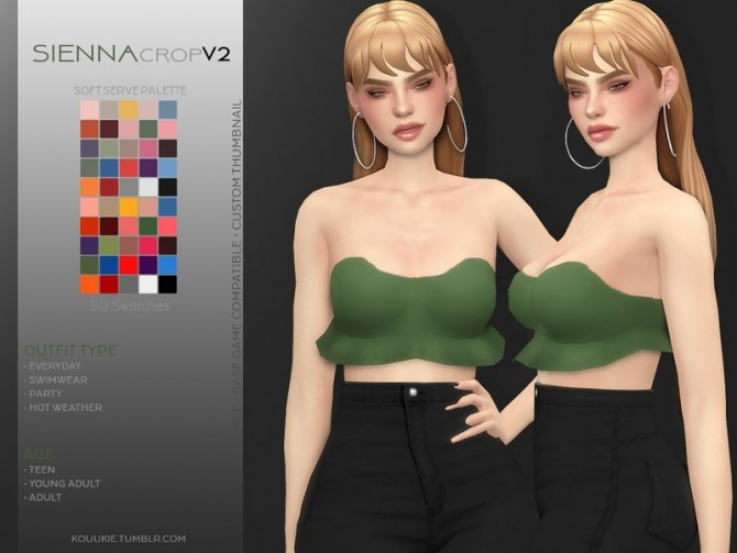 Sienna Crop Top V2 by Kouukie at TSR image 2418 670x503 Sims 4 Updates