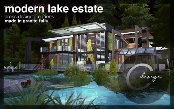 Modern Lake Estate at Cross Design image 2434 670x419 Sims 4 Updates