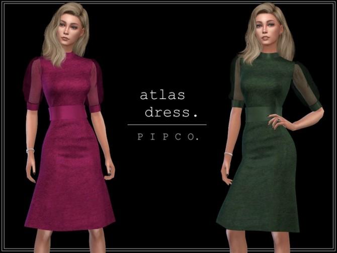 Sims 4 Atlas dress (sheer sleeves) by Pipco at TSR