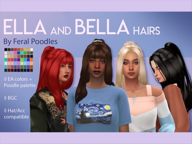 Sims 4 Bella Hair by feralpoodles at TSR