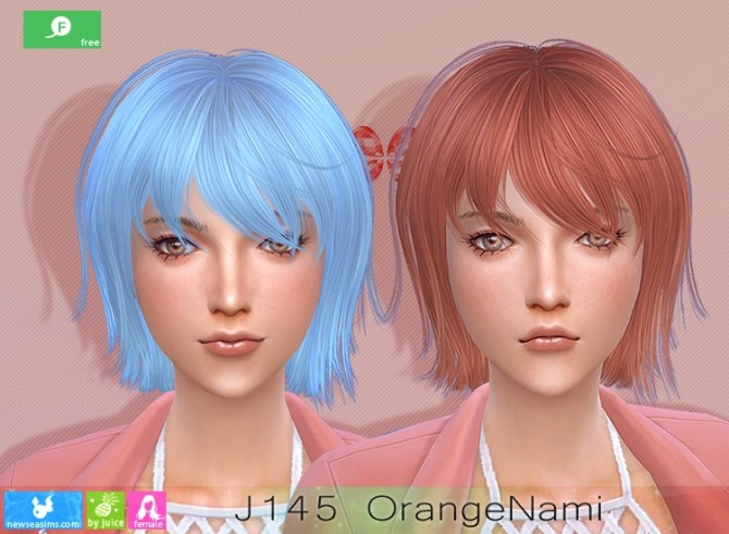 Sims 4 J145 OrangeNami hair at Newsea Sims 4