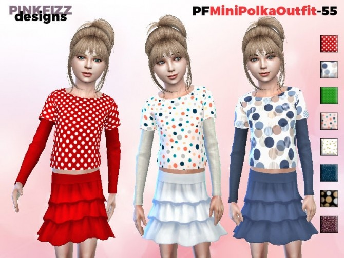Sims 4 Mini Polka Oufit PF55 by Pinkfizzzzz at TSR