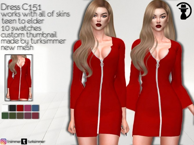 Sims 4 Dress C151 by turksimmer at TSR