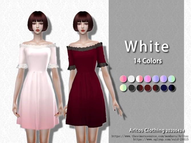 Sims 4 White dress by Arltos at TSR