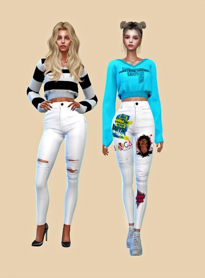 Sims 4 Female White Jeans at L.Sim