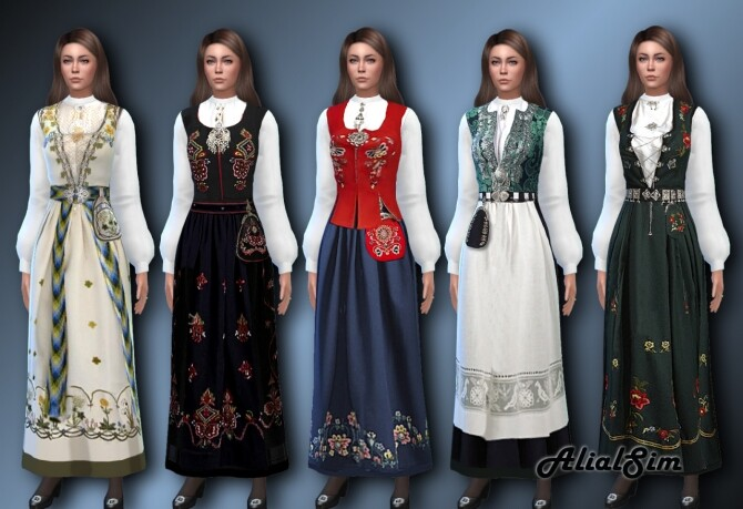 Sims 4 Norwegian Bunad with a new mesh with puffed sleeves at Alial Sim