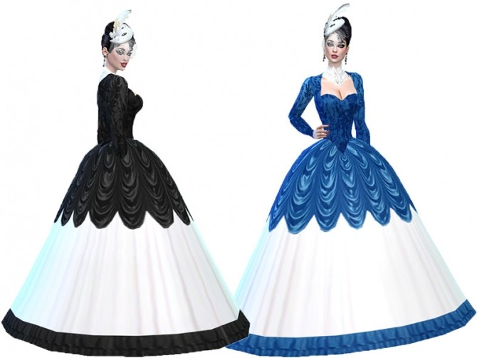 Sims 4 Frill Ball Gown by TrudieOpp at TSR