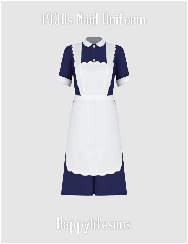 Sims 4 1930s Maid Uniform Set at Happy Life Sims