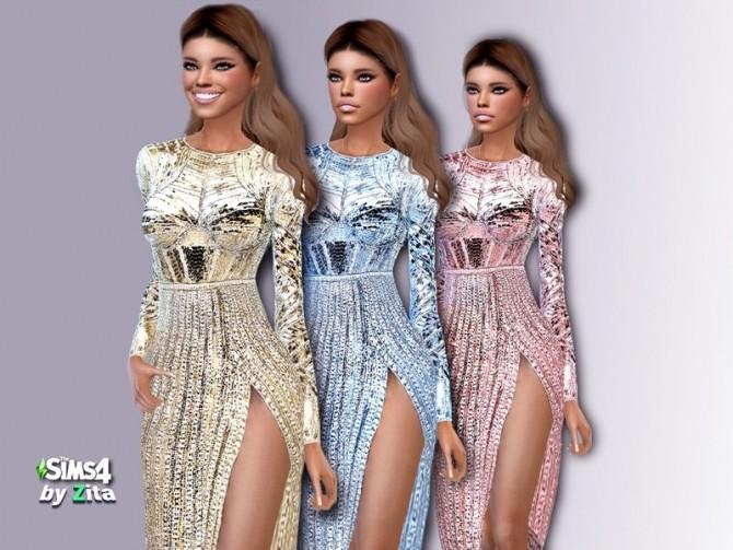 Sims 4 Glamezon dress by ZitaRossouw at TSR