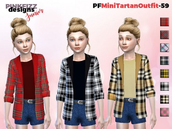 Mini Tartan Outfit PF59 by Pinkfizzzzz at TSR image 353 670x503 Sims 4 Updates