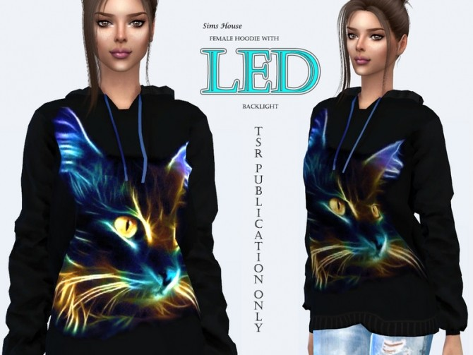 Sims 4 Female hoodie with LED backlight Neon cat by Sims House at TSR