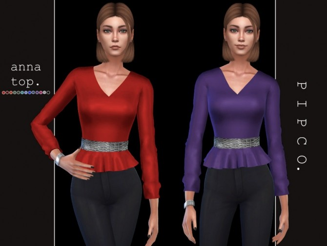 Sims 4 Anna top by Pipco at TSR