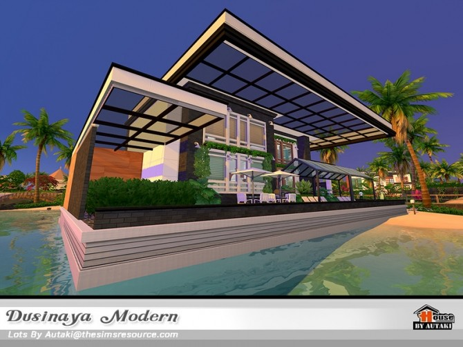 Sims 4 Dusinaya Modern house NoCC by autaki at TSR