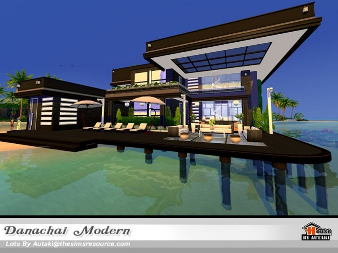 Sims 4 Danachai Modern House NoCC by autaki at TSR
