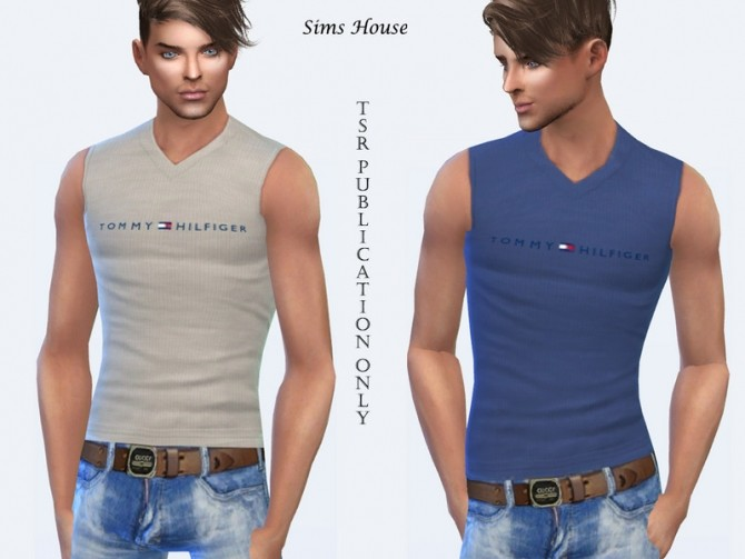 Mens T shirt without sleeves by Sims House at TSR image 421 670x503 Sims 4 Updates