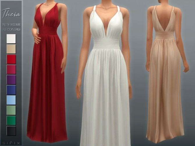 Sims 4 Theia Dress by Sifix at TSR