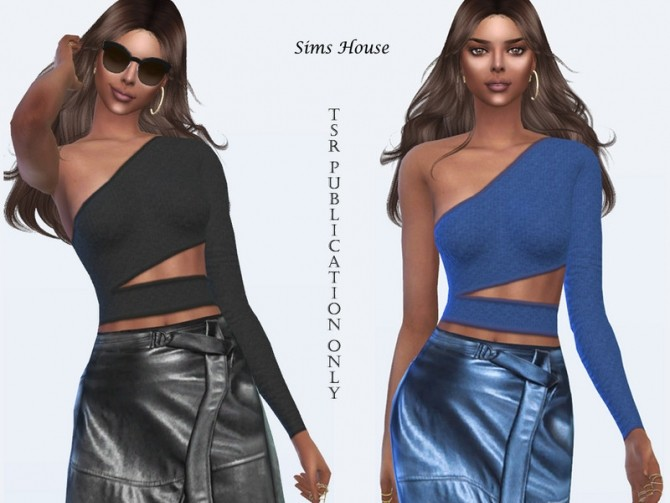 Sims 4 Top with asymmetric one sleeve by Sims House at TSR