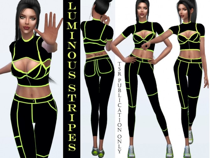 Sims 4 Sports suit with luminous stripes by Sims House at TSR