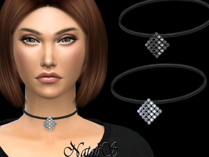 Sims 4 Curved square crystal choker by NataliS at TSR