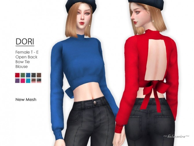 Sims 4 DORI Bow Tie Blouse by Helsoseira at TSR