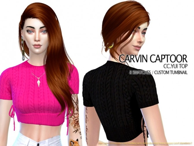 Sims 4 Yui Top by carvin captoor at TSR