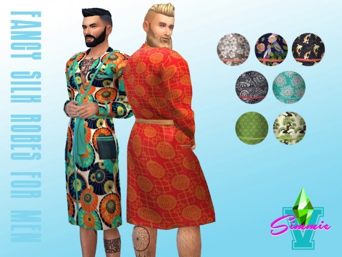 Sims 4 Fancy Silk Robes for Men by SimmieV at TSR