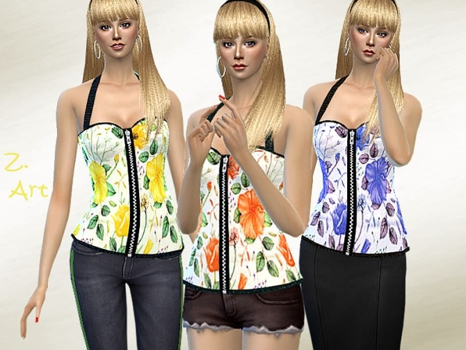 Sims 4 TopZ 08 fashionable top with a neck holder and zip by Zuckerschnute20 at TSR