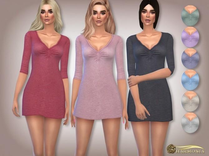 Ruched Front V Neck Nightie by Harmonia at TSR image 504 670x503 Sims 4 Updates