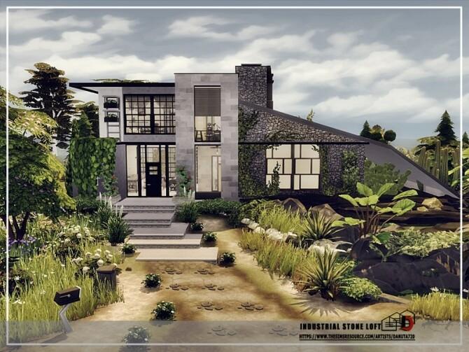 Sims 4 Industrial stone Loft by Danuta720 at TSR