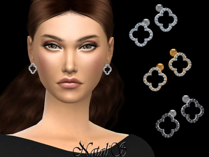 Open clover stud earrings by NataliS at TSR image 5213 670x503 Sims 4 Updates